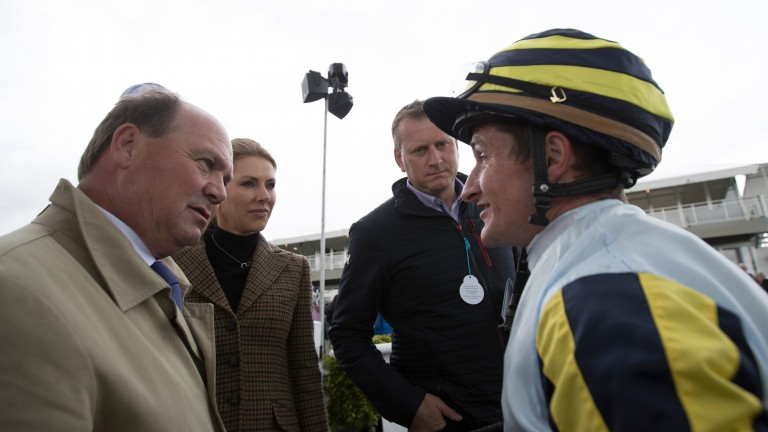Shane Foley with trainer Michael Halford (left) after Irishcorrespondent's win at the Curragh