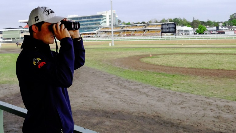 MELBOURNE, AUSTRALIA - NOVEMBER 03:  Trainer James Cummings clocking Precedence final gallop session ahead of the Melbourne Cup at Flemington Racecourse on November 3, 2014 in Melbourne, Australia.  (Photo by Vince Caligiuri/Getty Images)