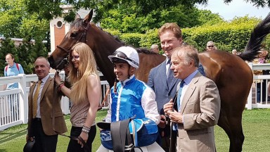 Freddy Head (right), Pierre-Yves Bureau, racing manager to the Wertheimer brothers, and jockey Maxime Guyon in the winner's enclosure with Terrakova