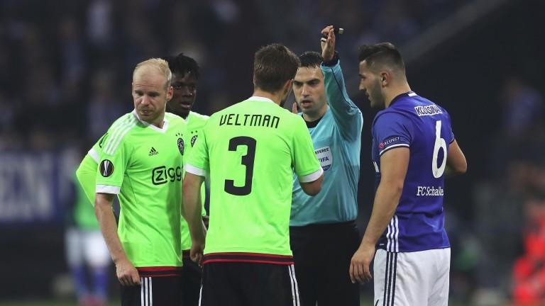 Ajax defender Joel Veltman was sent off in the 3-2 defeat at Schalke