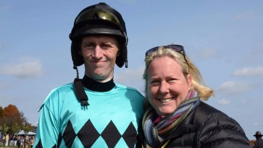 Paddy Young and wife Leslie: US-based jump jockey suffered head injuries in a fall at the weekend