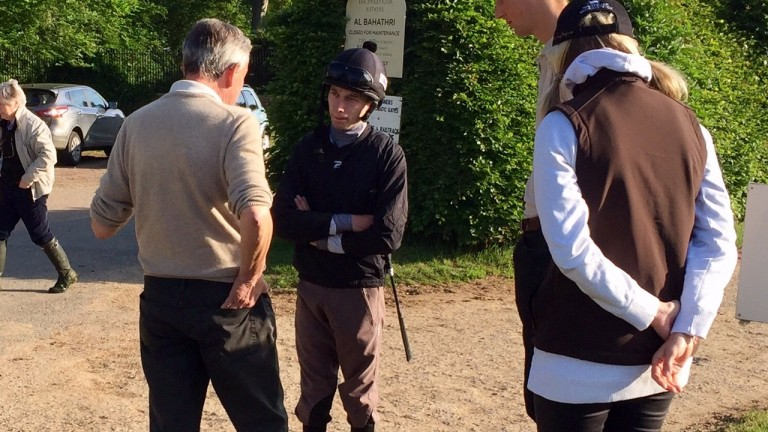 Luca Cumani chats to Luke Morris before his workers headed to the Limekilns