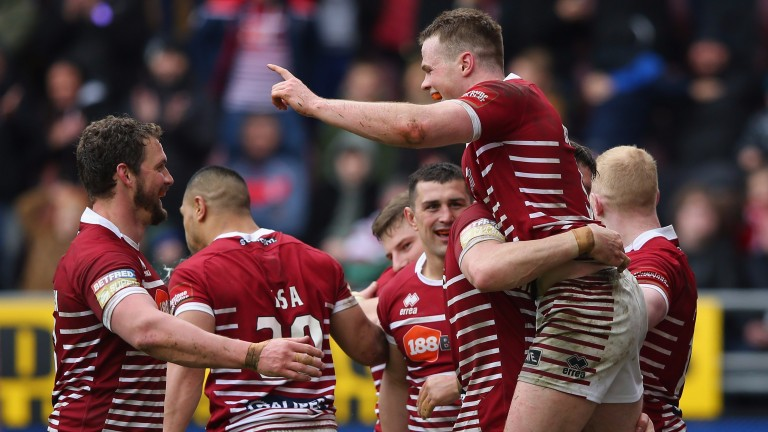 Wigan celebrate their Good Friday success over St Helens