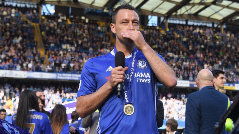 John Terry speaks to the crowd after his final match for Chelsea