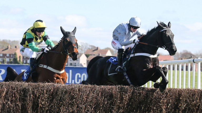 Vanituex (right) lands the Scotty Brand handicap chase during the Scottish Grand National at Ayr