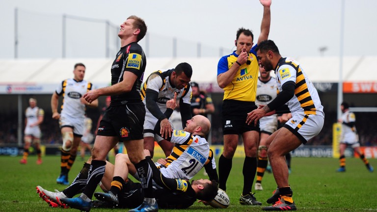 Wasps  celebrate a try against Exeter at Sandy Park