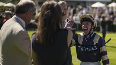 CHICHESTER, ENGLAND - MAY 26:  Frankie Dettori shares a joke with connections at Goodwood racecourse on May 26, 2017 in Chichester, England. (Photo by Alan Crowhurst/Getty Images)