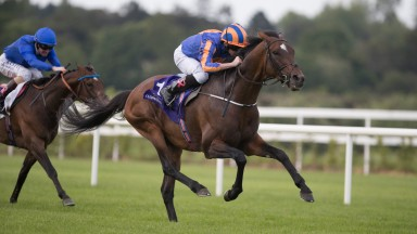Order Of St George and Ryan Moore winning the Seamus & Rosemary McGrath Memorial Saval Beg Stakes (Listed).Leopardstown.Photo: Patrick McCann 23.05.2017