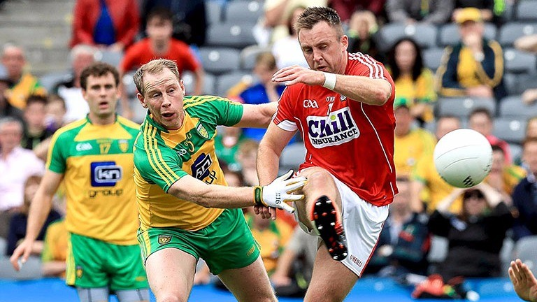 Cork's Paul Kerrigan scores the first goal of the game against Donegal