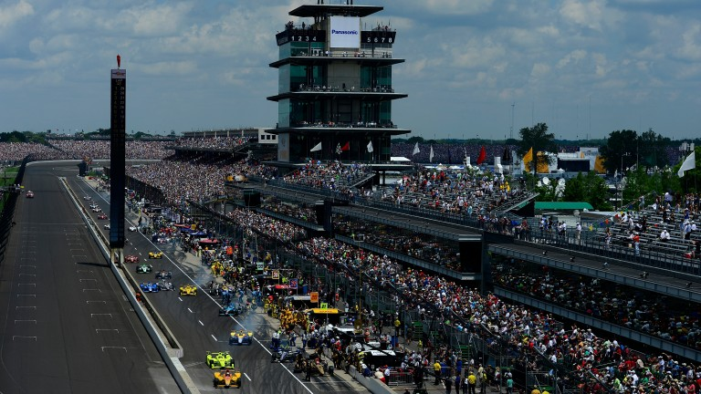 Fernando Alonso tackles the famous Brickyard at Indianapolis