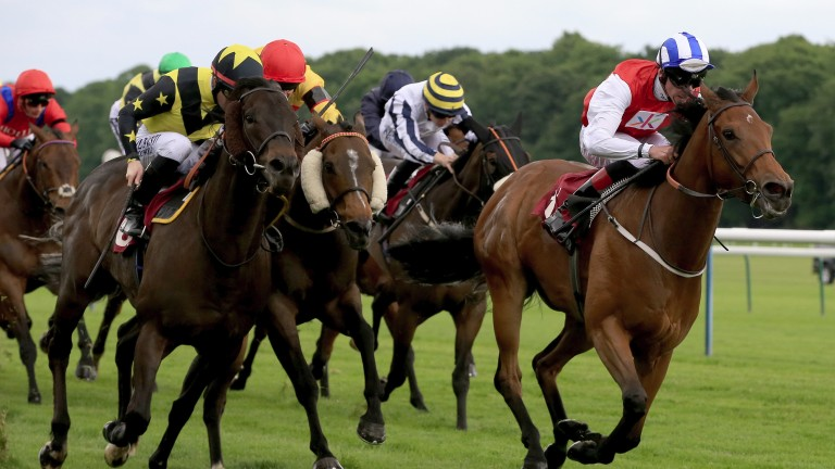 HAYDOCK, ENGLAND - MAY 27:  Adam Kirby (R) riding Priceless leads the field home to win the Armstrong Aggregates Temple Stakes at Haydock Racecourse on May 27, 2017 in Haydock, England. (Photo by Clint Hughes/Getty Images)
