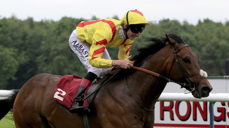 HAYDOCK, ENGLAND - MAY 27:  Adam Kirby riding Harry Angel wins the Armstrong Aggregates Sandy Lane Stakes at Haydock Racecourse on May 27, 2017 in Haydock, England. (Photo by Clint Hughes/Getty Images)