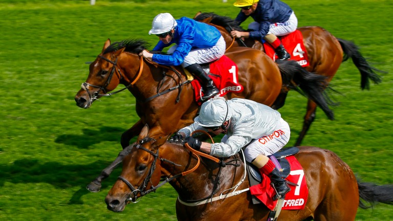 Permian and Franny Norton (near side) land the Dante from Benbatl and Pat Cosgrave. William Buick takes over on the winner in the Derby