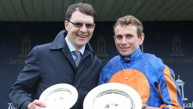 Smiling through: Aidan O'Brien and Ryan Moore are delighted after completing the 2,000 Guineas double with Churchill