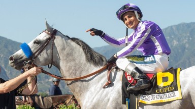Rafael Bejarano gives the credit to Cupid after the Coolmore colt lands his first Grade 1 success in the former Hollywood Gold Cup