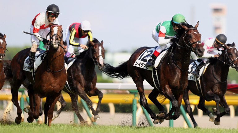 Rey De Oro (Christophe Lemaire, green cap) charges home to claim the Tokyo Yushun (Japanese Derby)