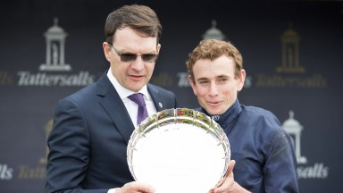 All smiles: Trainer Aidan O'Brien and rider Ryan Moore celebrate Winter's 1,000 Guineas win