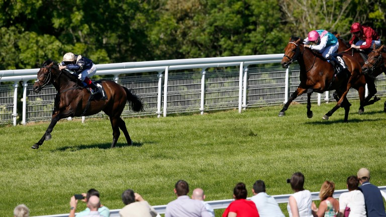 Khalidi, pictured winning Goodwood's Cocked Hat Stakes in style, will be partnered by Pat Smullen in the Derby as the rider bids to follow up last year's victory on Harzand