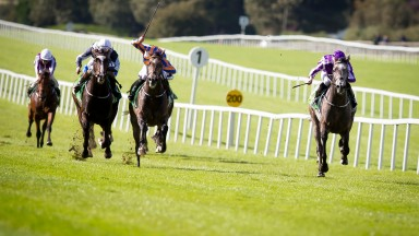 Capri and Ryan Moore (right) take the Group 2 Juddmonte Beresford Stakes at the Curragh last September