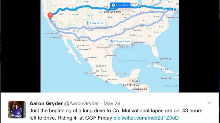A tweet from Aaron Gryder's account showing the journey in front of him