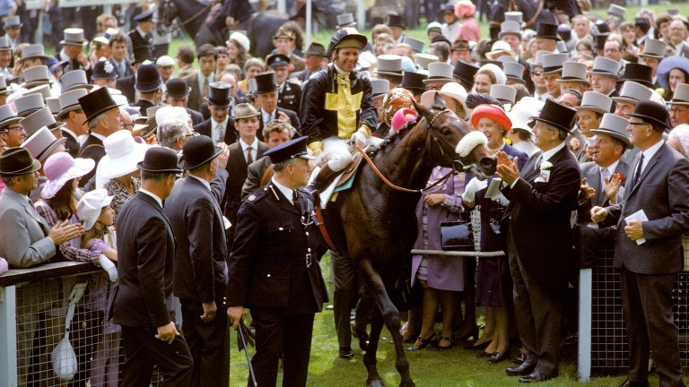 Ian Balding's number one Epsom memory: Mill Reef and Geoff Lewis enter the winner's enclosure after winning the Derby
