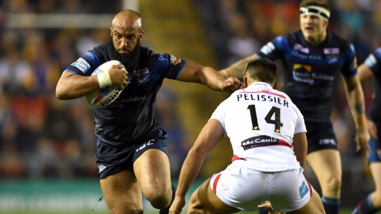 Leeds forward Jamie Jones-Buchanan punches a hole in Leigh's defence earlier this season