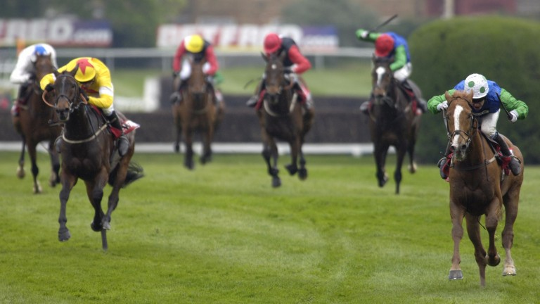 Well Chief and Timmy Murphy (right of picture) beat Azertyuiop in the 2005 Celebration Chase at Sandown