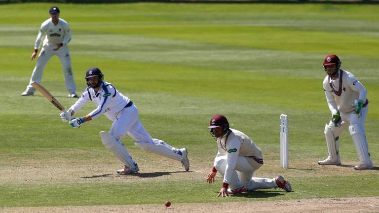 James Vince of Hampshire hits out past James Hildreth