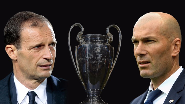 Max Allegri (left) and Zinedine Zidane will do battle in the Champions League final