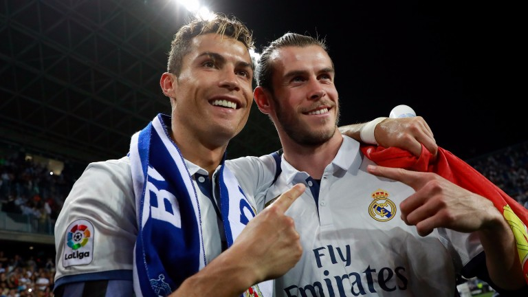 Cristiano Ronaldo and Gareth Bale celebrate Real Madrid's La Liga title success
