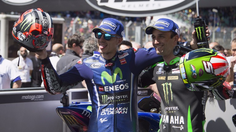 Maverick Vinales (left) and Johann Zarco celebrate after the French GP