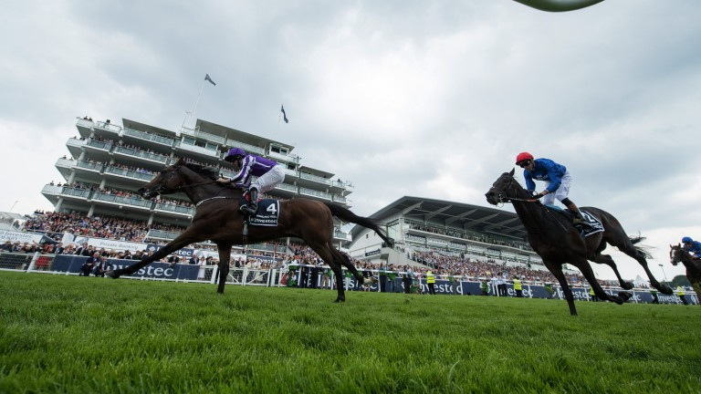 Class edge: Highland Reel bounced back to form with victory over Frontiersman in the Group 1 Coronation Cup under Ryan Moore