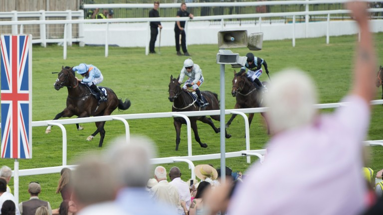 Celebratng a winner: one racegoer cheers home De Bruyne Horse (left) - winner of the Woodcote Stakes