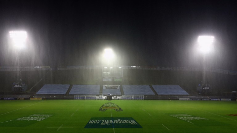 A rainy scene at Whagarei's Toll Stadium 24 hours before kick-off