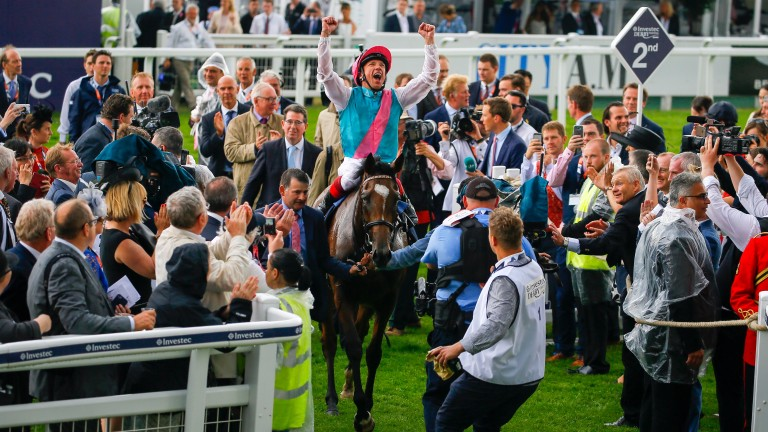 Frankie Dettori is euphoric entering Epsom's winner's circle