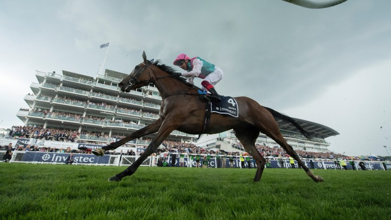 Enable and Frankie Dettori come home under dark skies at Epsom as they land the Oaks in June 2017