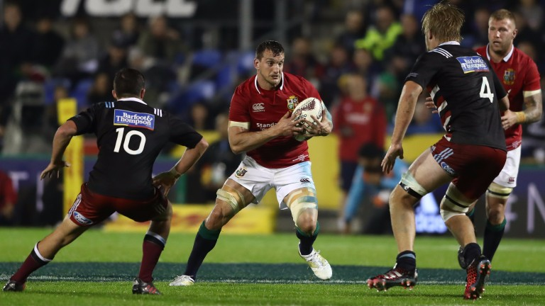 Lions skipper Sam Warburton takes on the New Zealand Provincial Barbarians