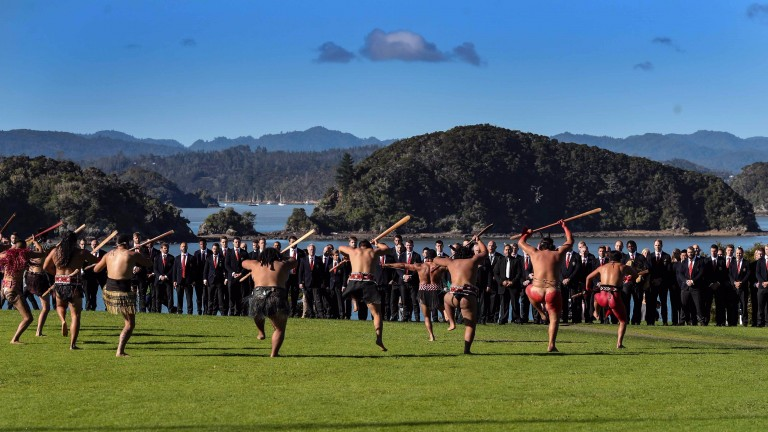 The British & Irish Lions are given a Maori welcome in Waitangi