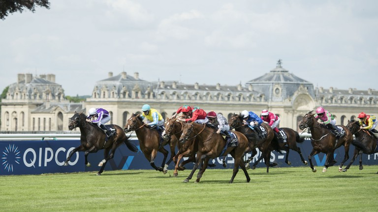 Brametot (fourth left): on his way to winning the Prix du Jockey Club
