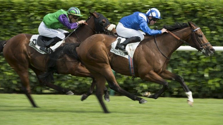 Finsbury Square (green): seen finishing second to Muthmir in the Prix du Gros-Chene