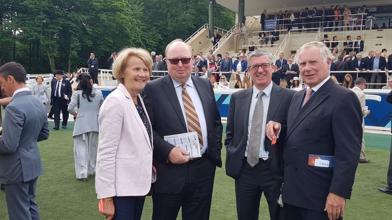 Aliette Forien (left) with Coolmore's Christy Grassick and David O'Loughlin and Gilles Forien (right) at Chantilly on Sunday