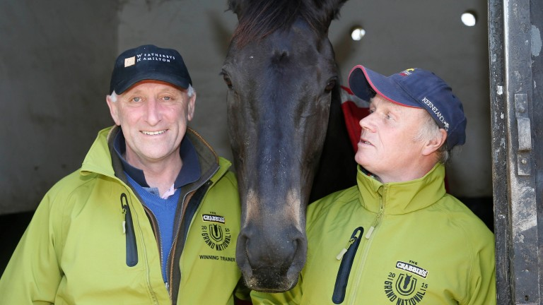 Oliver Sherwood with groom Chris (CJ) Jerdin and the late Many Clouds