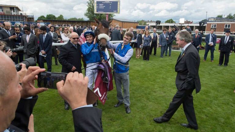 John Ferguson (right) oversees the celebrations after Ribchester's Lockinge Stakes triumph