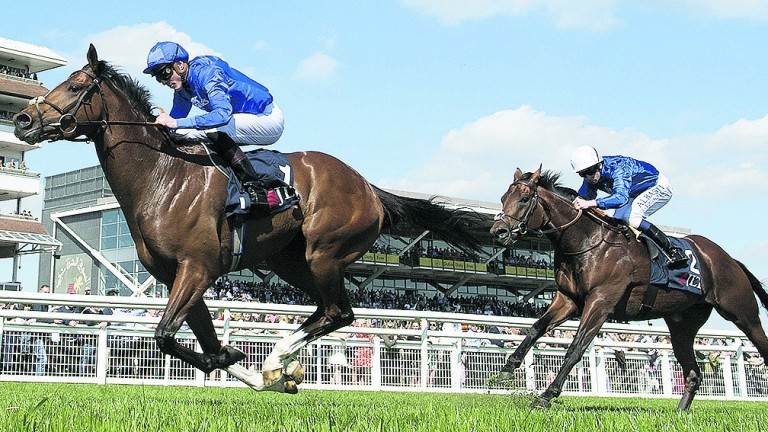 Godolphin's Barney Roy (James Doyle) beats Dream Castle in the Greenham Stakes