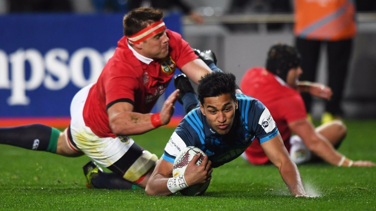 Blues winger Rieko Ioane scores the first try