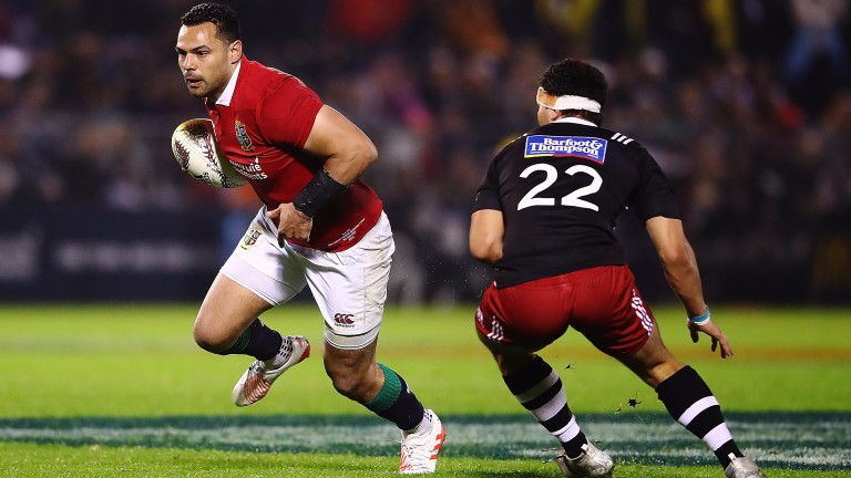 Ben Te'o makes a break for the Lions against the New Zealand Provincial Barbarians