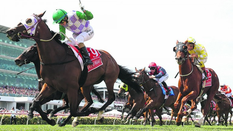 Michelle Payne and Prince Of Penzance triumph in the 2015 Melbourne Cup