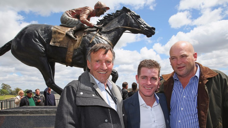 Crack team: Rick Jamieson (left) with Black Caviar's regular jockey Luke Nolen (centre) and trainer Peter Moody