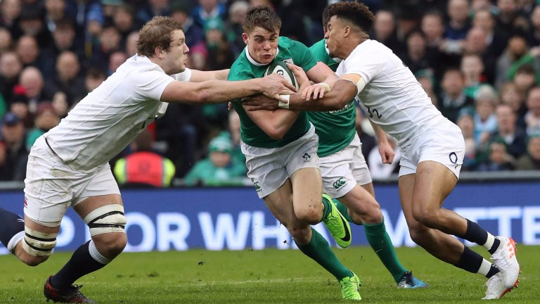 Ireland centre Gary Ringrose on the charge against England