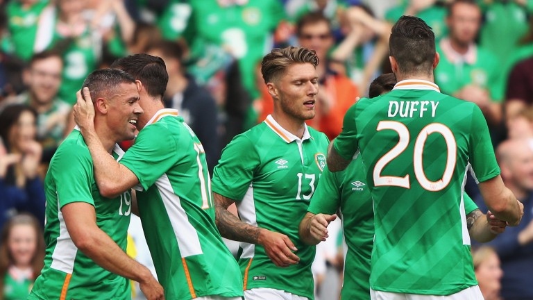 Ireland celebrate during the game against Uruguay